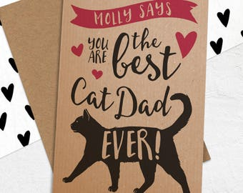 Best Cat Dad Ever Card from the cat - Personalised Best Cat Dad Card