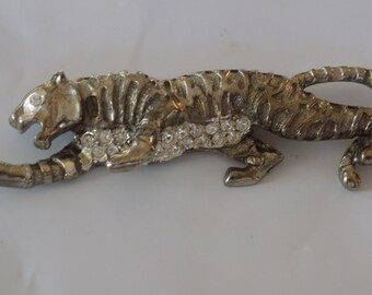 Vintage brooch,crystal and silver cougar jaguar wild jungle animal figural brooch,jewelry