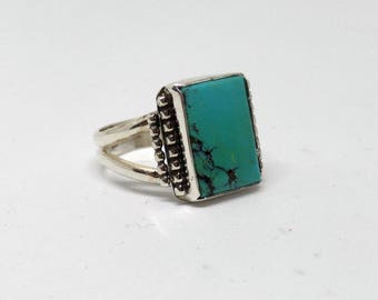 Men's Turquoise Ring, Mens Sterling Silver Turquoise Ring, Size 12, Genuine Turquoise, Turquoise Ring, Silver Turquoise, 925, 1542