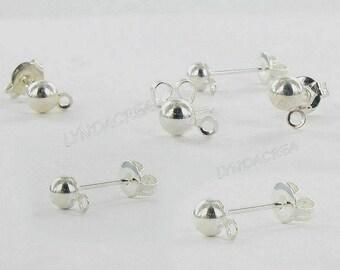 20 Stud Earrings - Half Sphere 1 ring - silver color # K38