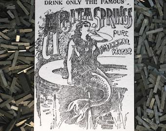 Abita Springs Mermaid Letterpress Postcard
