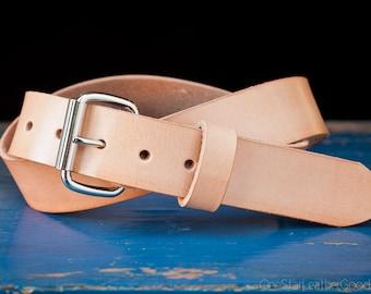 "Custom sized belt - 1.25"" width - natural leather - heel bar buckle"