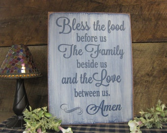Bless the food before us. The Family beside us and the Love between us. Amen Rustic Style Kitchen Dining Room Sign Say Grace Every Night