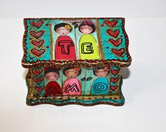 Te Amo - Little Frida Box - Original Handmade Jewelry Box Folk Art by FLOR LARIOS
