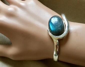 Silver Bangle Bracelet with Large Labradorite Cabochon