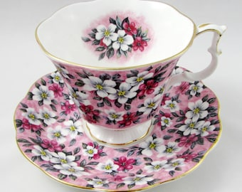 """Royal Albert Garden Party Series """"Pink Surprise"""" Pink Floral Tea Cup and Saucer, Vintage Bone China"""