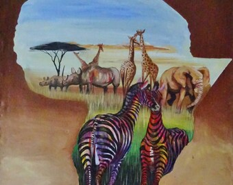 The Heart Of Africa - Original African Acrylic Painting, from Tanzania