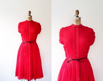 1950s dress / red party dress / Pleated Bow dress
