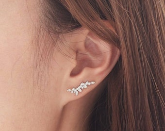 Leaf ear pins l ear climbers l ear climber earrings l ear crawlers l ear crawler earrings l ear sweeps l vine ear crawler earrings l cz