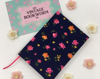 A6 Lined Notebook Hand Covered in a vintage Rose Print Pink and Orange floral fabric