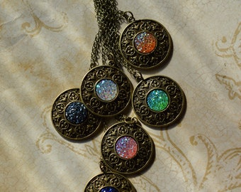Faux Druzy Shield pendants - Choose your color!