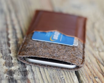 Leather iPhone 6 case Credit card holder case iPhone sleeve iPhone 6 felt case iPhone 7 pouch