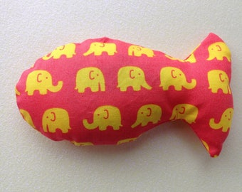 Cat toy, catnip toy, stuffed fish toy, catnip, elephant fabric, toys for cats, gifts for cats, catnip cat toy, catnip fish
