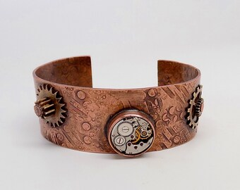 Mixed metal jewelry cuff bracelet.Steampunk jewelry cuff bracelet.Steampunk bracelet