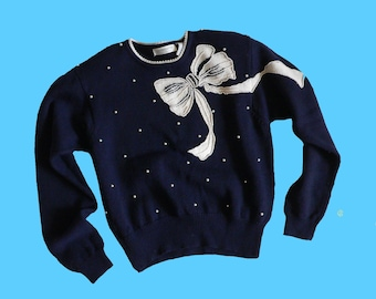 Vintage Pearls and Bows Sweater