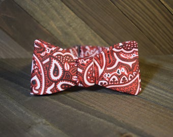 Red Paisley Self Tie Bow Tie