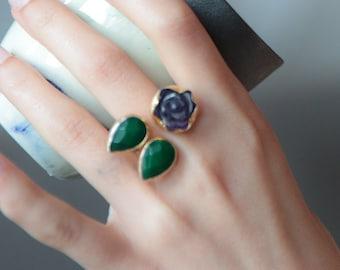 Améthyste Rose taille de bague avec gouttes de jade, gouttes de Rose de ma bague jardin Jade et améthyste, jade, bague violette et verte, bague améthyste