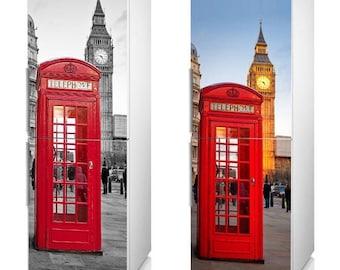 "Fridge Vinyl Sticker *** London Phone Booth *** / Self-Adhesive Vinyl Refrigerator Decal / 185 x 60 cm  (73"" x 24"") / Vinyl Wallpaper"