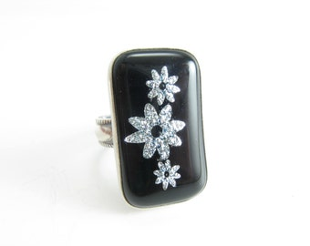 Bloom Sterling Silver Ring Shimmer Daisy Ring Art Glass Sterling Silver Ring Handmade Metalwork Jewelry Large Statement Ring Size 8.5