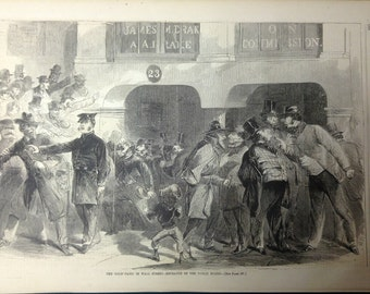 The 1863 Gold Panic on Wall Street - Original Civil War print. Fine detailed illustration - Harper's Weekly, March 21st, 1863.