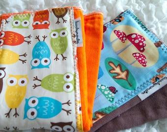 Baby burp cloth - hand dyed bright  orange owls and brown toadstools hand dyed burp cloth set