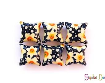 Polymer clay pillow beads -  yellow on blue flower beads -ceramic tile style-  handmade beads -millefiori beads - 20mm (6)