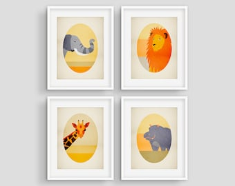 Safari Nursery Decor, Safari Baby Shower Gift, Nursery Wall Art Animals, Set of 4 Prints, Elephant Giraffe Lion Hippo Nursery Prints