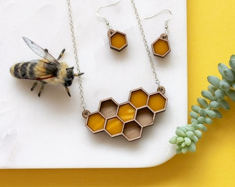 Honeycomb Necklace and Earrings | Geometric Necklace | Laser Cut Perspex