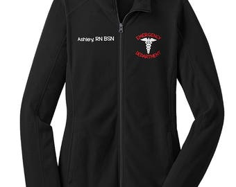 Emergency Department Nurse with Caduceus Fleece Jacket wwith Name-RN zipup  light or heavy weight