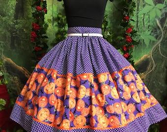 Pumpkin bats & polka dots Halloween 50s style pinup skirt