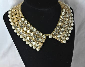 Charming Vintage Rhinestone & Pearl Collar Necklace, c1950s, Extra Small Vintage Rhinestone and Pearl Collar, Vintage Bridal Jewelry