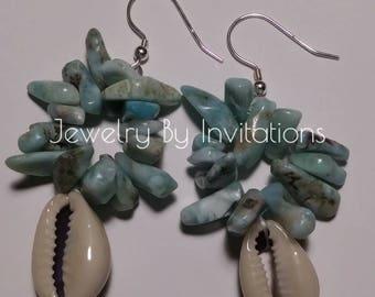 Larimar& Shells earrings