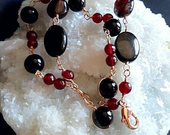 25% Off Sale Multi Strand  Black Onyx Cats Eye And Garnet Wire Wrapped in Rose Gold Fill Wire 2 Strand Bracelet Gift for Her