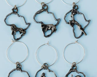 Set of six animal antique nickel wineglass charms: Bring a unique African touch to your wineglasses with these elegant wineglass charms