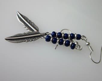 Metal Feather Earrings, Mens Dangle Earrings, Medium Silver Feather, Tribal Jewelry, Long Silver Dangle, Unisex Jewelry, Dark Blue Beaded