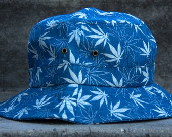 Denim Weed Leaf Bucket Hat