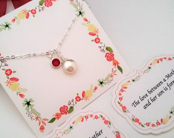 MOTHERS DAY GIFT, Gift for Mom, Gift for Mother, Gift from Son, Gift from Daughter, Birthstone Personalized Necklace,Coin Pearl Necklace