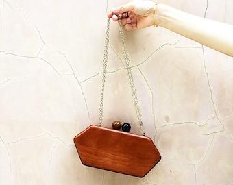 Vintage Style Wood Clutch / Evening Bag / Chain Shoulder Cross Body Bag / Mini Ladies / Handbag Messenger / Party Bag / Purse Flap