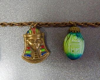 Czech, Neiger, Rare Egyptian Revival Charm bracelet