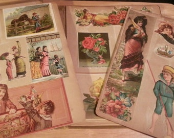 1920 Scrapbook with vintage Victorian cards