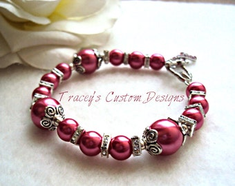 Hot Pink Breast Cancer Awareness Bracelet - ONE OF A KIND. Custom made jewelry.