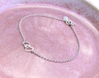 Two Linked Hearts Bracelet Gift For Her Sterling Silver Hearts Linked on a Sterling Silver Chain, Hand Hammered Wire Dainty Hearts
