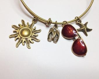 Beach Theme Bangle Charm Bracelet, Sun, Flip Flops, Sunglasses, Starfish, Antique Brass, Adjustable Bangle, Trendy