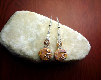Orange and Pink Silver Wire Wrapped Polymer Clay Earrings