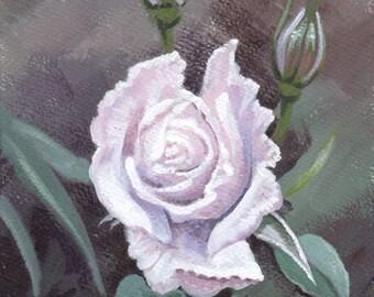 Weiße Rose-Malerei, original Kunst-Geschenk, Sammlerstücke Malerei, Sammlerstücke Kunst-Geschenk, Acrylmalerei, kostenloser Versand