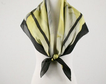 Vintage Gold Embellished Gray and Yellow Large Square Silk Scarf Hand Rolled Hem