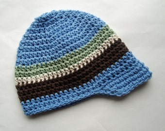 Crochet Boys Hat, Baby Boy Hat, Cotton Visor Beanie, Boys Visor Hat, Boys Summer Hat, Infant Winter Hat, Boys Winter Hat, MADE TO ORDER