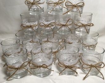 Set of 20 decorated glass tealight holders