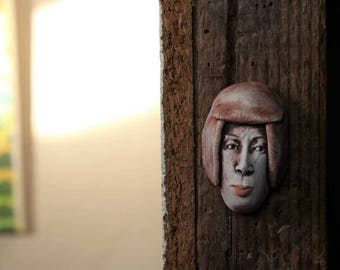 Porcelain Wall Hanging Woman's Face