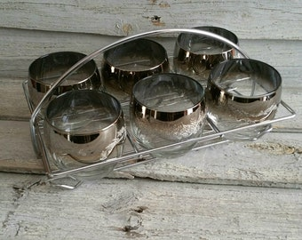 Vintage Silver Ombre Roly Poly Glasses In Wire Caddy, Set of 6 Roly Poly Glasses, Retro Barware